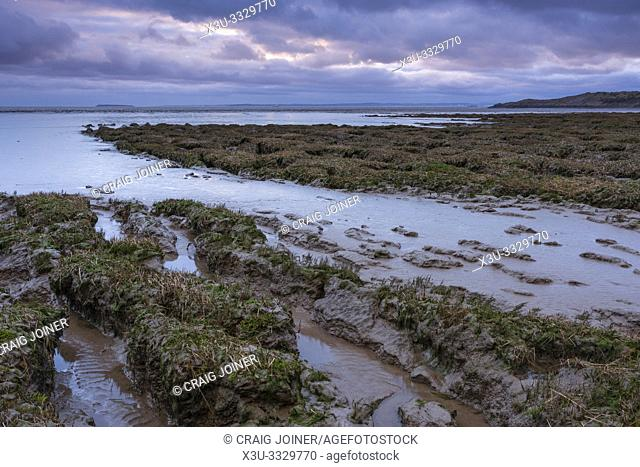 Mudflats at Sand Bay where the Bristol Channel meets the Mouth of the River Severn in North Somerset, England