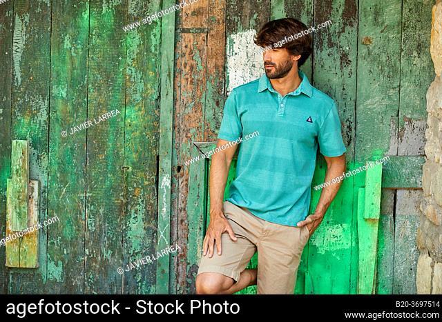 Young man with sailor clothes, Pasaia, Gipuzkoa, Basque Country, Spain, Europe