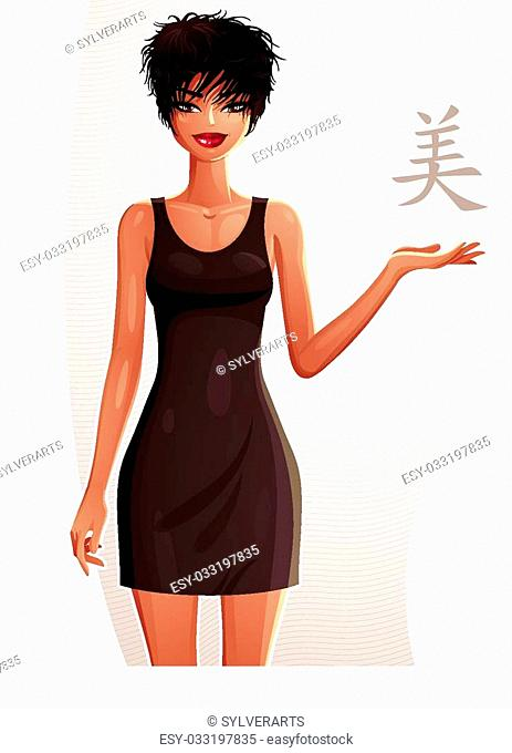 Attractive tanned standing girl showing at empty copy space with her hand, colorful illustration. Sexy woman, well-dressed glamorous chic