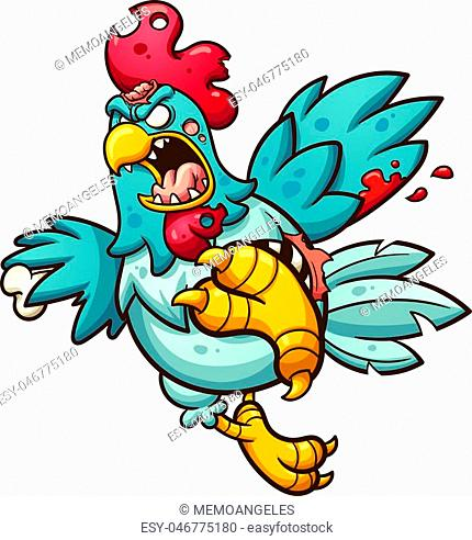 Angry zombie chicken. Vector clip art illustration with simple gradients. All in a single layer