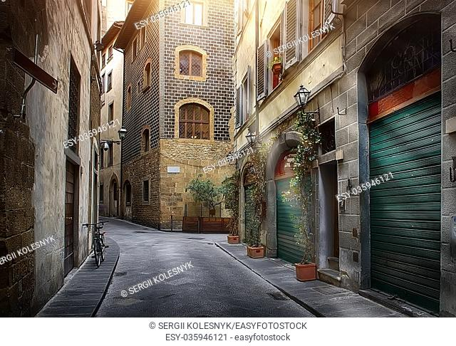 Narrow street of Florence in the morning, Italy
