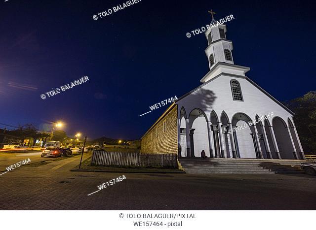 iglesia de Nuestra Señora de los Dolores de Dalcahue, XVII century. declarada Monumento Nacional y Patrimonio de la Humanidadarchipiélago de Chiloé