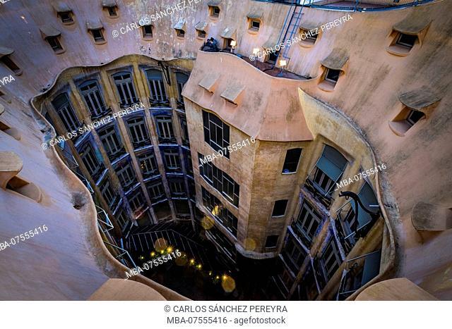 Roof of the Casa Mila (also known as La Pedrera) of the Catalan modernist architect Antoni Gaudi located on the famous Avinguda de Gracia street in the Eixample...