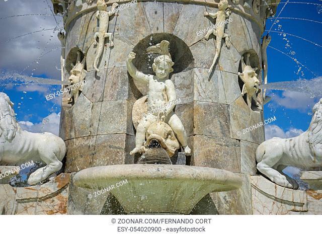 Aranjuez, Madrid, Spain. MARCH 25, 2018. Fountain of the Mariblanca de Aranjuez