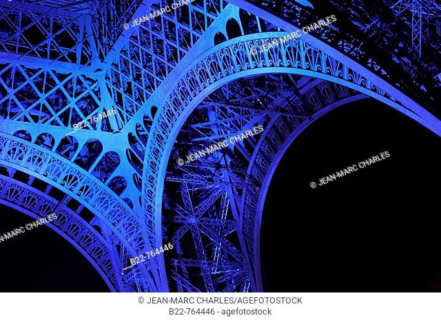 June 30, 2008. France marks the start of its six-month presidency of the European Union by lighting up the Eiffel Tower in blue with yellow stars