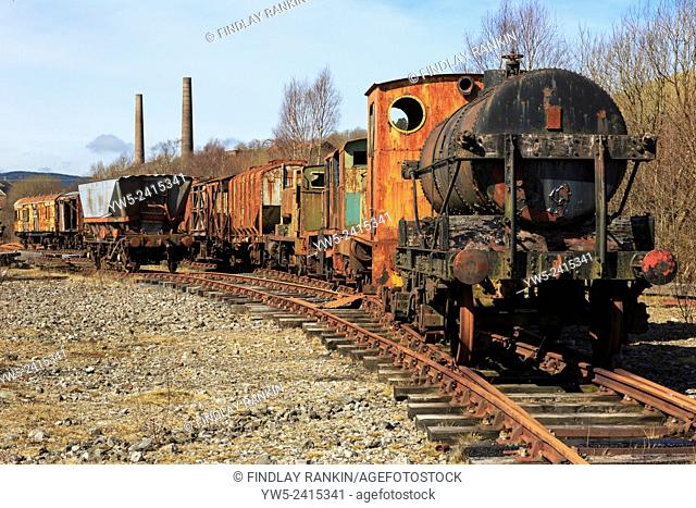 Old and abandoned rusting stean trains and railway carriages, Ayrshire, Scotland, UK