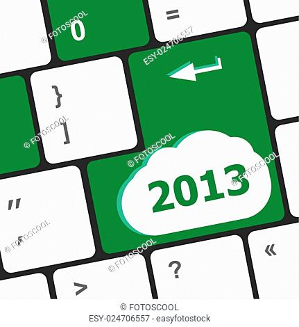 2013 new year keyboard key button close-up
