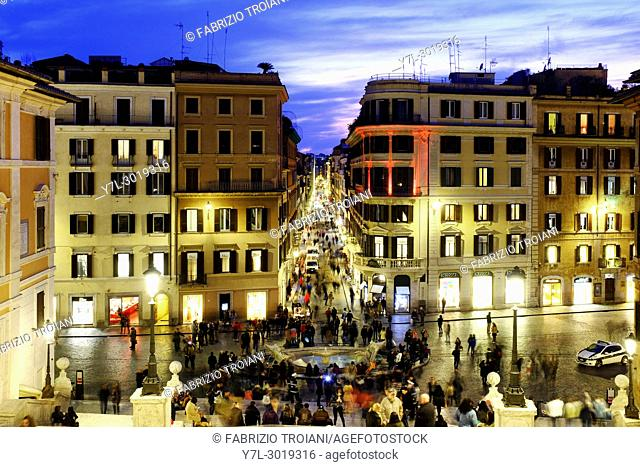 Via dei Condotti from the Spanish Steps, Rome, Italy