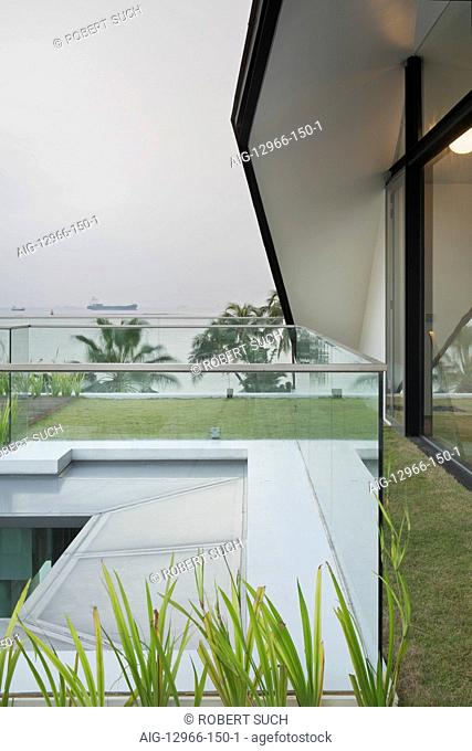 Grass floor balcony and roof with glass balustrades in dull light