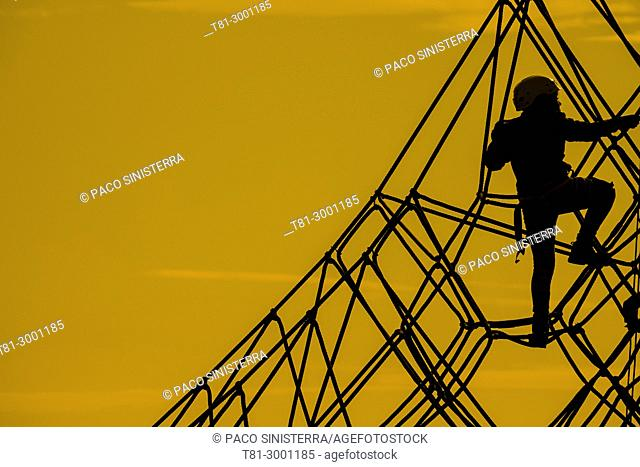 silhouette of child climber, Valencia