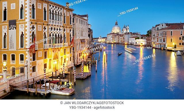 Venice - Canal Grande by night (Grand Canal), view from Accademia Bridge to Basilica Santa Maria della Salute, Venice, Italy, UNESCO