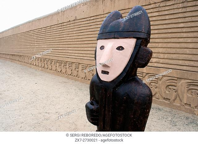 Tschudi complex. Statue probably of guard. UNESCO World Heritage Site. Tschudi Palace, Chan Chan, near Trujillo, Peru