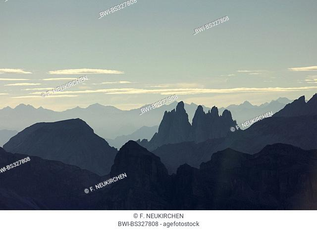 view from Kleiner Lagazuoi to Fermeda towers of Geisler group in backlight, Italy, Dolomites