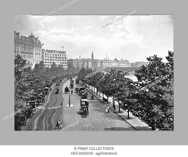 The Thames Embankment, from Charing Cross Station, London, c1900. Artist: York & Son