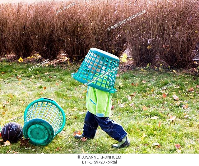 A little boy raking leaves in the garden Sweden