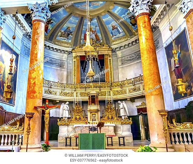 San Silvestro Church Altar Basilica Venice Italy. Founded in the 800s, the Church was reconsecrated in 1850
