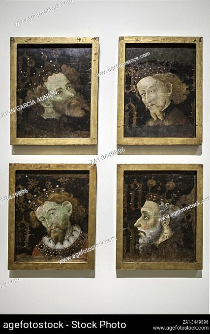 Portraits of the kings of Aragon by Jaume Moreno, 1427. National Art Museum of Catalonia, Museum of Catalan Art, Barcelona, Spain