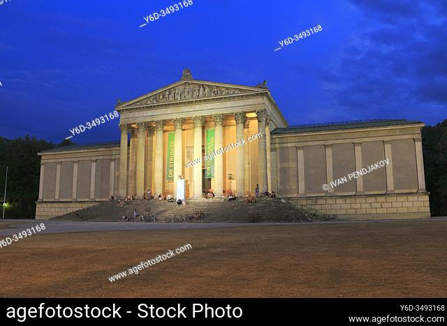 The State Collection of Antiquities at Night, Munich, Germany