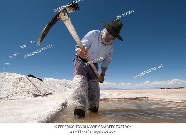 Salt workers in Salina Grande. Argentina