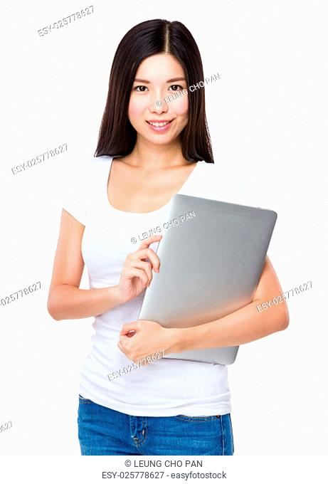 Woman hold with notebook computer
