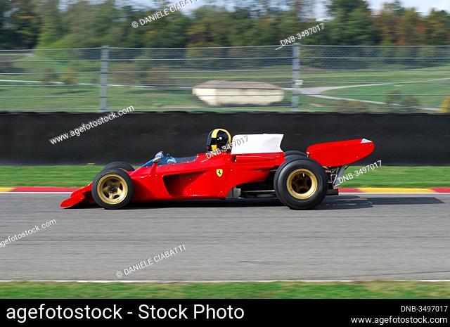 Mugello Italy November, 2007: Unknown run with his Historic 1970s Ferrari F1 312 B3 (spazzaneve) into Mugello Circuit in italy during Finali Mondiali Ferrari...