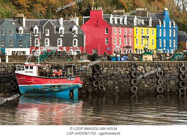 Tobermory Harbour and houses on the Isle of Mull in Scotland