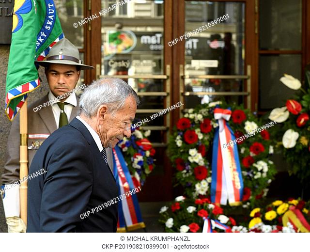 President of Senate of the Parliament of the Czech Republic Jaroslav Kubera attends an act of reverence to honour the memory of people killed in August 1968 in...