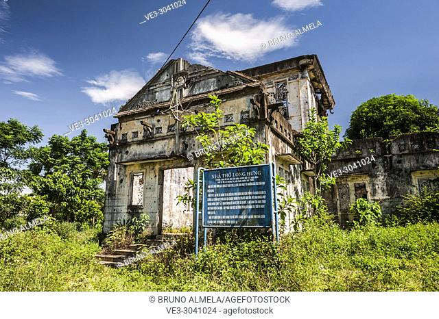 Long Hung Church is a war damaged historic relic in Quan Tri province, Vietnam