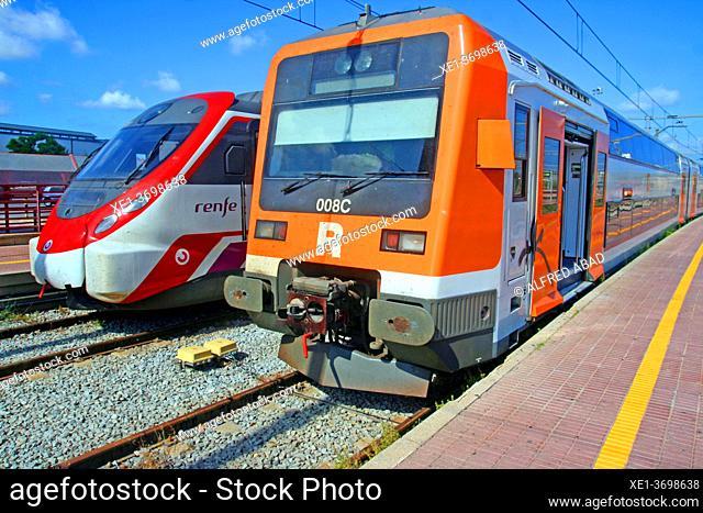 trains at the railway station, Vilanova i la Geltrú, Catalonia, Spain