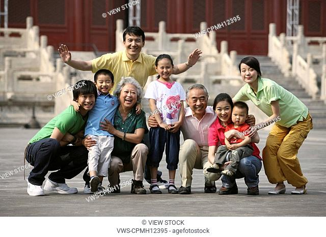 Chinese family getting together in the Forbbiden City, China
