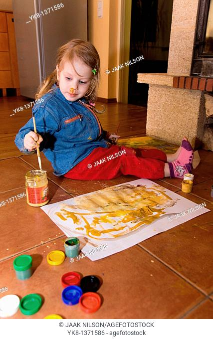 Three Year Old Girl Painting
