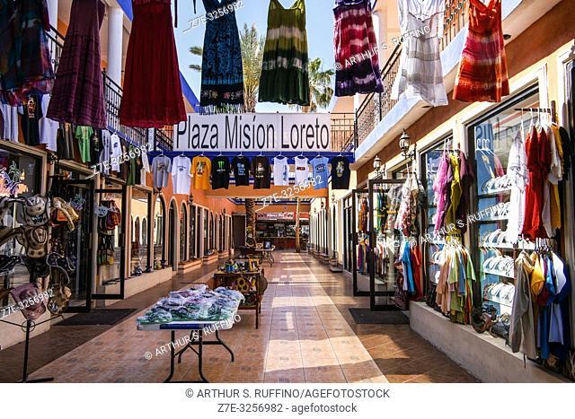 Shopping in the Plaza Misión Loreto. Downtown Loreto. UNESCO World Heritage Site. Loreto, Baja California Sur, Mexico
