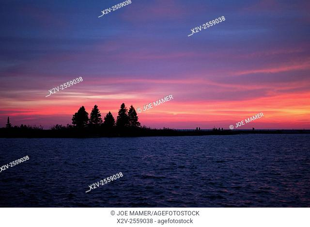 Sunset over Grand Marais breakwater