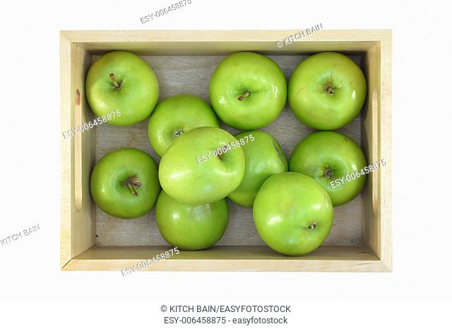 A close up shot of green apples