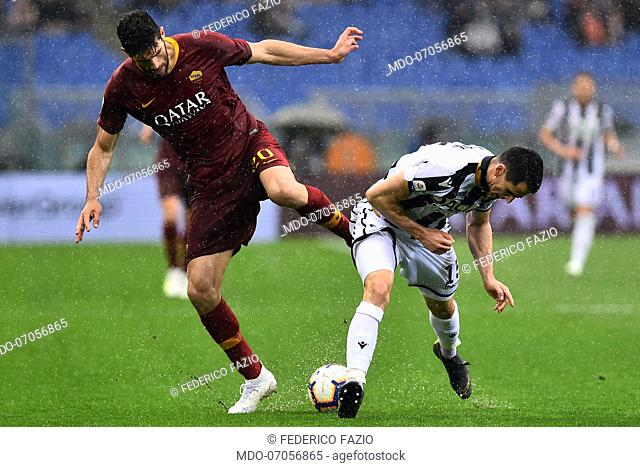 Roma football player Federico Fazio and the Udinese football player Kevin Lasagna during the match Roma-Udinese in the Olimpic Stadium