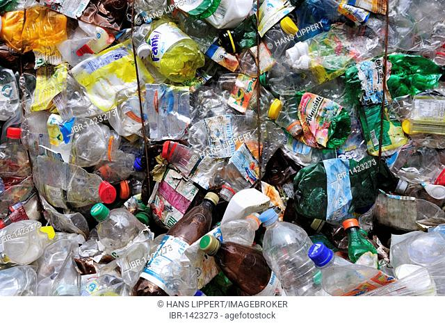 Pressed PET bottles, recycling, buyback centre
