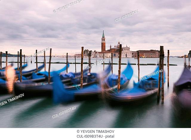 Gondolas in Grand Canal, San Giorgio Maggiore Island in background, Venice, Italy