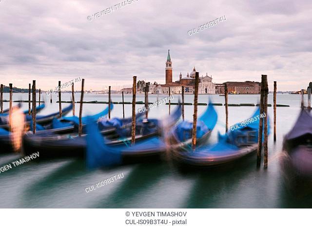 Gondolas in Grand Canal, San Giorgio Maggiore Island in background, Venice, Italy