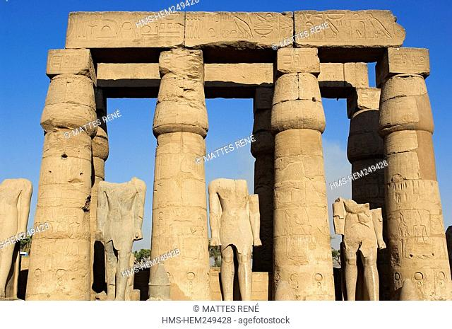 Egypt, Upper Egypt, Nile Valley, Luxor Temple listed as World Heritage by UNESCO