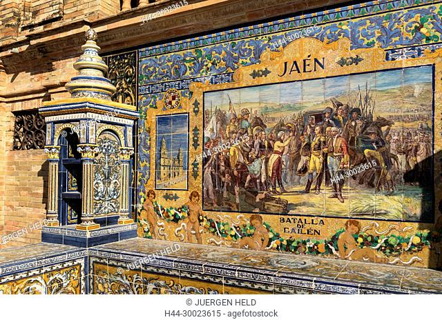 Antique ceramic, wall tiles representing provinces and cities of Spain , Jaen, Placa de Espana, spanish square, Seville, Andalusia, Spain