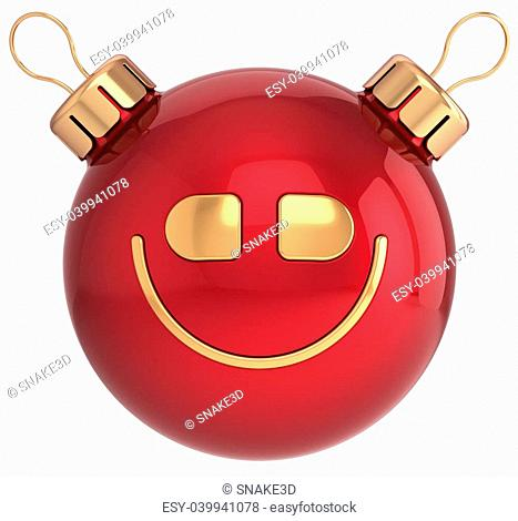 Christmas ball smile face New Year bauble smiley icon decoration red gold. Wintertime celebration emoticon. Merry Xmas holiday positive happy character concept