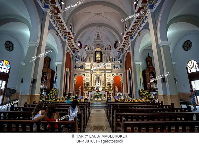 Pilgrimage church, Basilica of the Our Lady of El Cobre, Virgin de la Caridad del Cobre, interior, in Santiago de Cuba, Santiago de Cuba Province, Cuba