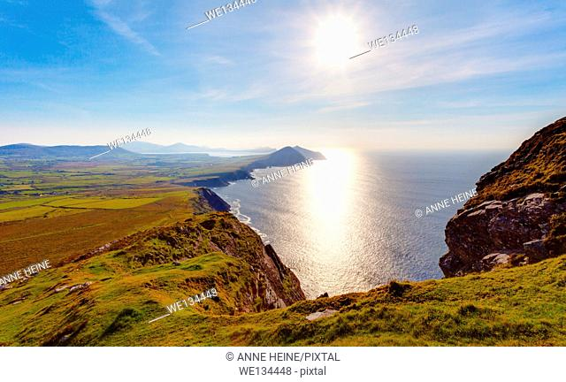 coastline of western ireland seen from way up to Mt.Brandon in westerly direction at late afternoon, dingle peninsula,ldr image