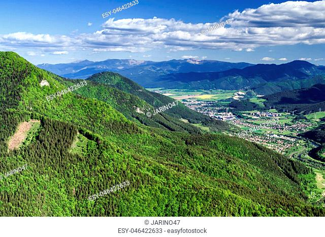 Beautiful view from hill Hrdos (Ostre) in Mala Fatra national park. Country landscape. Town Ruzomberok at backround