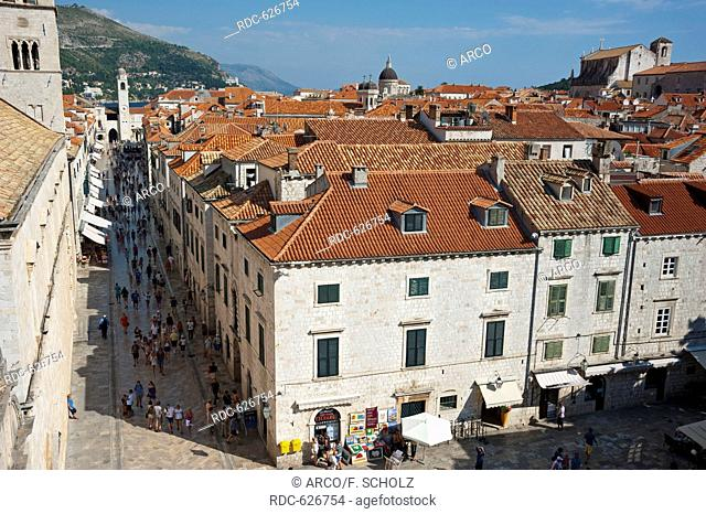 Stradun, View from the city wall across historic town, old town, Dubrovnik, Dalmatia, Croatia