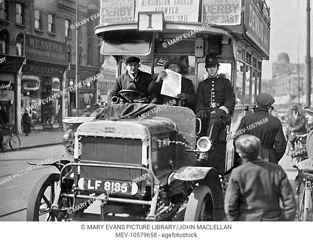London bus during the General Strike, Route 1, destined for Kensington Church, the Aldwych and Notting Hill Gate. Alongside the driver