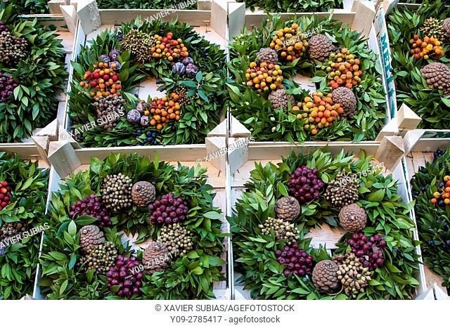 Christmas wreaths, Christmas Market, Manchester, England, United Kingdom