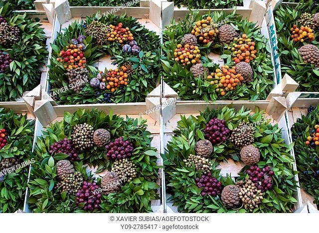 Christmas wreaths, Christmas Market, Manchester, England, United Kingdom