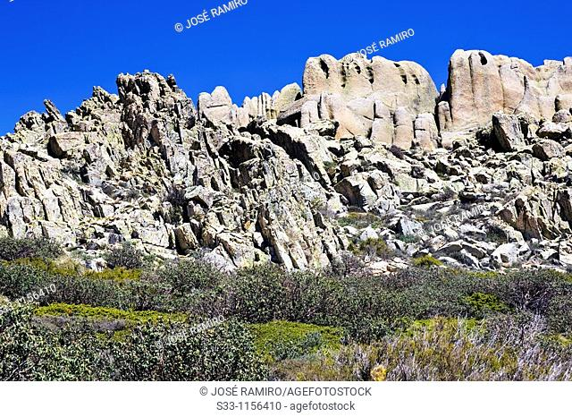 Los Fantasmas cliffs in La Pedriza scenic area, Cuenca Alta del Manzanares Regional Park, Madrid, Spain