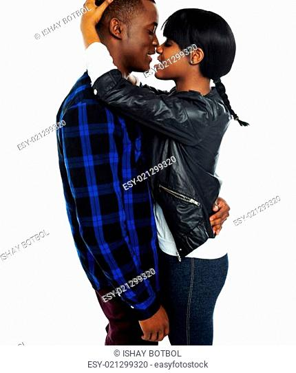 Romantic african couple making love